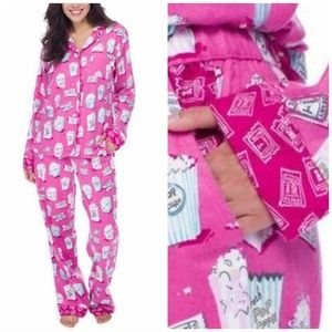 Munki Munki Movie Date Popcorn Flannel Pajamas Set